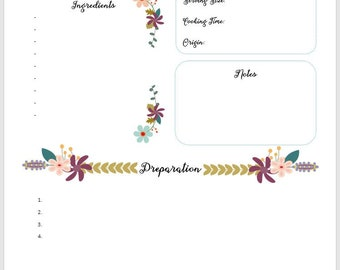 Floral Recipe Book Template, Printable Recipe Binder, Family Cookbook Template, Recipe Books