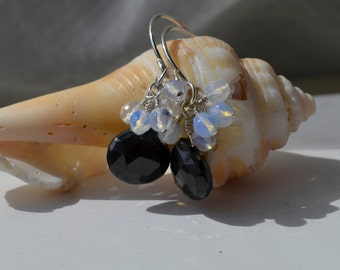 Black Spinel and Moonstone Cluster Earrings Handmade Wire Wrapped
