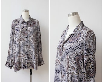 1990s Paisley Ethnic Boho Print Rayon Blouse Oversized Button Down Shirt Plus Size Top