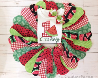 Watermelon tutu, watermelon birthday, watermelon outfit, watermelon birthday tutu, watermelon bow, watermelon fabric tutu, watermelon skirt