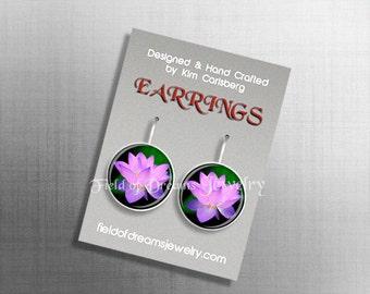 LOTUS FLOWER EARRINGS Violet Chakra Purple Crown Chakra Zen Earrings Meditation Earrings Gift Purple Chakra Earrings Reiki Earrings Yoga