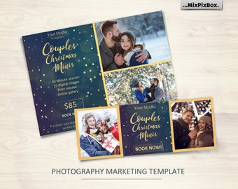 Couples mini session template, Couples minis, mini session, template, photography template, photoshop template, winter,christmas, facebook