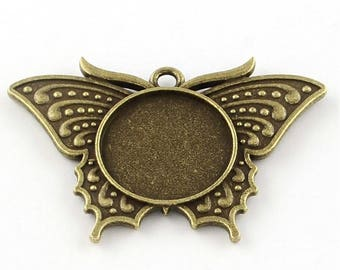 4 cabochon bronze Butterfly 49, 5 x 33, 5mm
