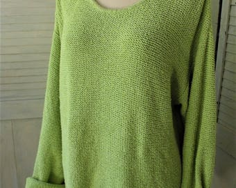 Silk, Linen Sweater/ Chico's Design/ Plus Size Pullover/ Gorgeous Green/ Holiday Wear/ Chic and Shabby/ Shabbyfab Thrifted Funwear