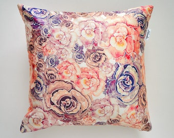 SALE Coral & Lilac Peony pillowcase by original design, flower satin pillow cover, ivory, pink, violet 18x18'(45x45 cm), 20x20' (50x50 cm)