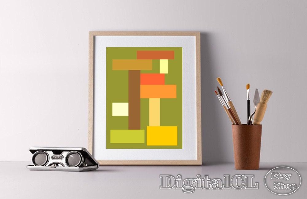 Geometric print minimalist print scandinavian print lines art