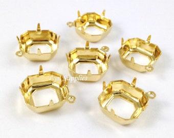 24K Gold Plated Square Settings 12x12mm 10pcs OPEN BACK 1 Loop Octagon Cushion Cut - Fits Swarovski 4470