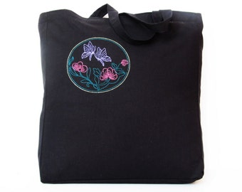 Embroidered tote bag Black cotton  Reusable Bag Eco-friendlyNatural Beach totebag FREE SHIPPING