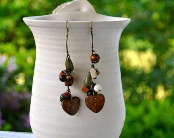 Long Boho Earrings- Heart Earrings- Green and Brown- Long Earrings- Boho Earrings- Boho Jewelry- Gift for her- Hippie earrings- Rustic