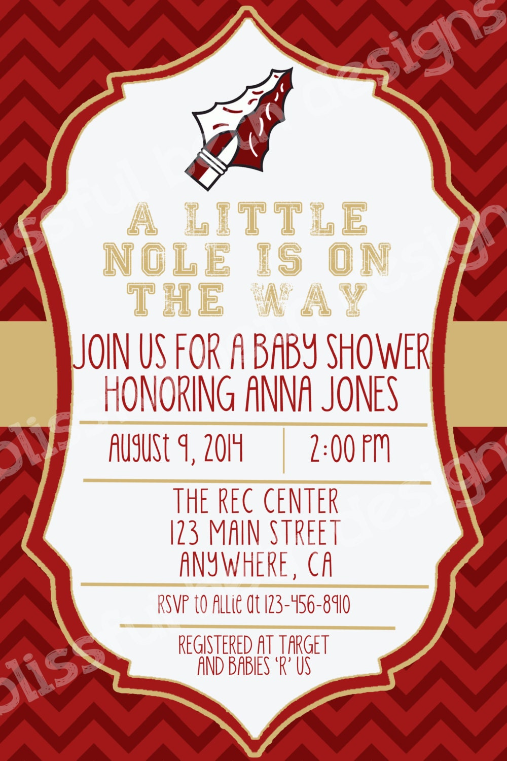 Garnet and Gold Baby Shower Invitation, Baby Shower Invite, Noles ...