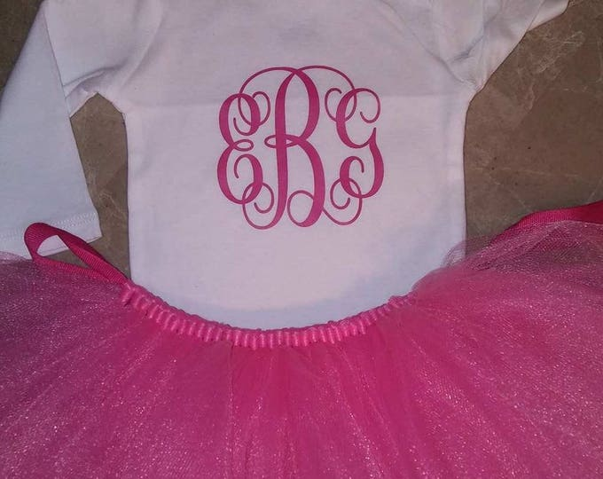 Monogram Tutu Outfit Girl Skirt Boutique Personalized Clothing Baby Pink Purple Baby Photos