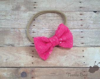 Sequin Bow Nylon Headband - Pink Sequin Bow Headband - Sequin Hair Bow - Glitter Bow Nylon Headband - Glitter Hair Bow - Nylon Headband