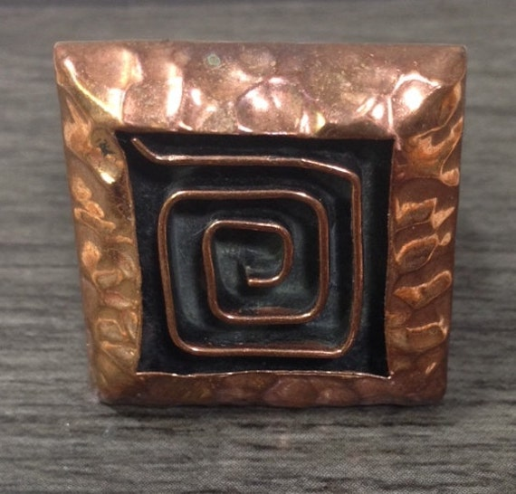 Copper Hammered Square Swirl Ring Handmade Handcrafted Fun Adjustable Chic Unique