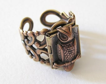 Owl locket Ring, Mysterious and Adorable (LB)