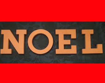 """Unfinished NOEL Letters Mosaic Base or Craft Shape 3/4"""" Thick Stand Up Word"""