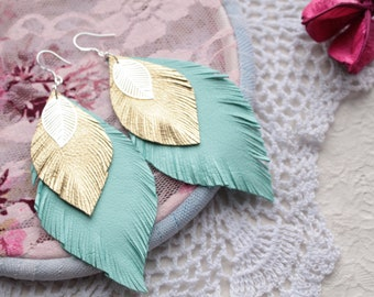 Mint and gold leather earrings Leaf earrings Feather earrings Bohemian earrings Light earrings Little handmade leather jewelry