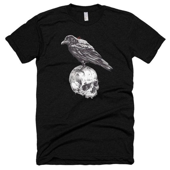 crow on skull, Short sleeve soft t-shirt