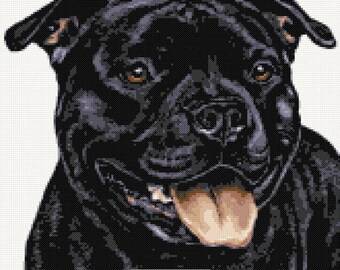 Black Staffordshire Bull Terrier v3 counted cross stitch kit
