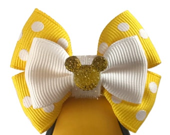"""Yellow Rock the Dots Magic Band  Bow or Apple Watch Bow, 2"""" Mini Hair Bow, Planner Bow"""
