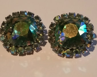 Bright Green Aurora Borealis Vintage Earrings