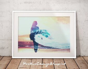 Coastal Wall Print, Coastal Decor Print, Beach Wall Art Large, Abstract Coastal Art, Coastal Beach Print, Wave Art Print, Wave Art Decor