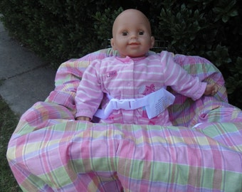 Pink pastel plaid baby shopping cart cover/ high chair cover