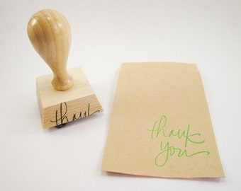 Rubber Stamp - Thank you hand lettered rubber stamp, laser cut - 1 1/2 inch - READY TO SHIP - K0012