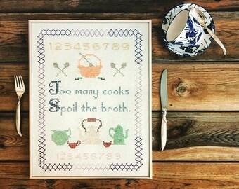 Vintage Framed Cross Stitch Sampler/Too Many Cooks Spoil the Broth/Linen Sampler/Hand Embroidery/Needlework Number Sampler/Gift for the Cook