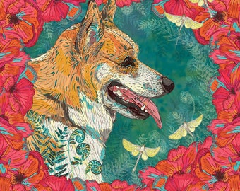 Corgi Art Loose Print, Dog Lover Art, Corgi Gifts, Corgi Print, Dog Art Print, Corgi Lover Gift, Dog Portrait, 8 x 8/12 x 12/16 x 16 inches