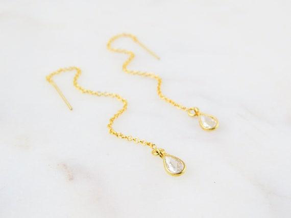 Drop Earrings | Threader Earrings | Wedding Earrings | Chain Earrings | Minimalist Earrings | Crystal Earrings | Dainty Earrings | Gift Idea