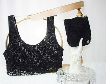 Victoria's Secret Lace Bralette and Panties Set Black New Med
