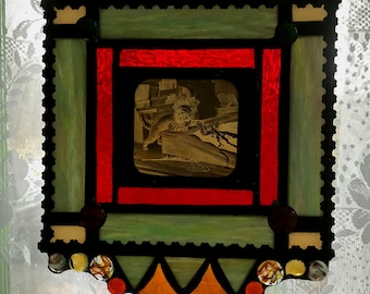Small Victorian Style Stained Glass Window - Cat Spilling Ink