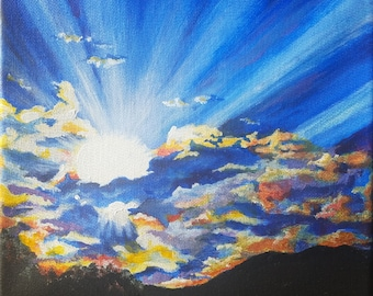 """Dawn of a New Day Original Acrylic Painting 8"""" x 8"""""""