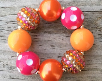Pink and Orange Bracelet, Chunky Bracelet, Orange and Pink Jewelry, Chunky Necklaces, Bubblegum Bracelet, Little Girls Jewelry
