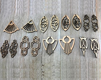 Pack of 8 pairs of unfinished wood earrings / Laser cut