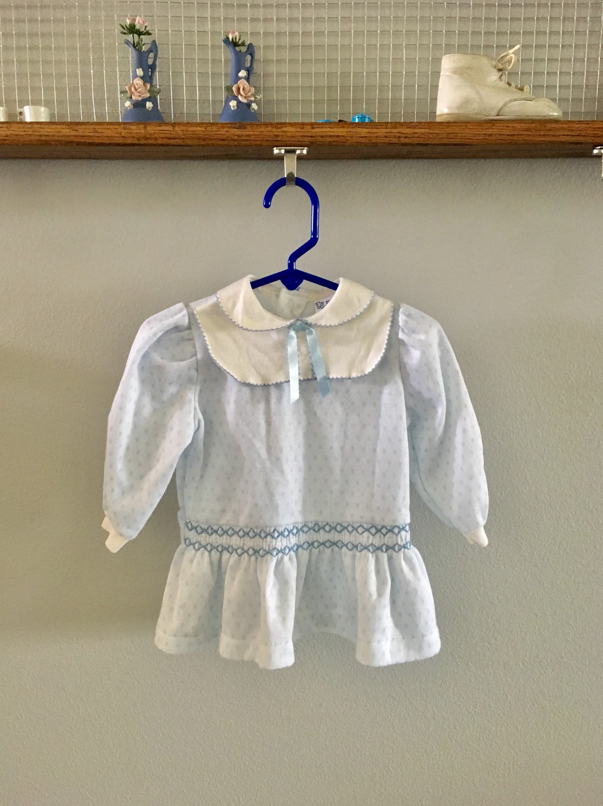 0148ac3298b6 Vintage Polly Flinders baby dress in blue and white knit with smocking,  peter pan collar yoke and ribbon from the 1980's, Size 24 Months