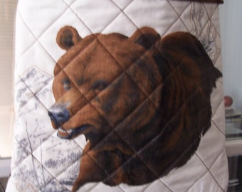 Quilted Country Bear and Wilderness Shoulder Bag