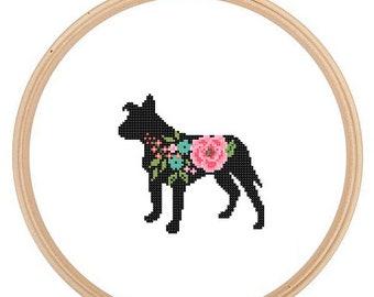 Floppy Ears Pitbull Silhouette Cross Stitch Pattern Floral roses Pet animal wall art Dog cross stitch modern trendy great gift