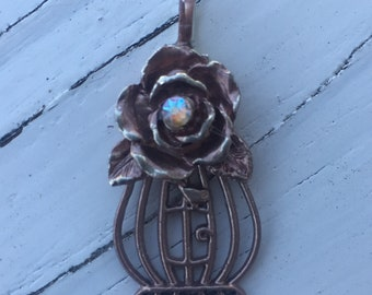 Rose Gold Bird Cage Pendant