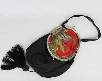 Vintage / Antique / Victorian Silk Purse / Handbag / Wristlet, Faux Tortoise / Tassel / Brilliant, Asian / Japanese Inspired Silk Lining