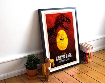 Jurassic Park Poster - Wall Art Print - Amber Crystal - T-Rex - (Available In Many Sizes)