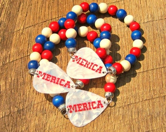 Guitar Pick Bracelet Merica festival fashion red white blue patriotic America USA United States American pride rocker musician music unisex