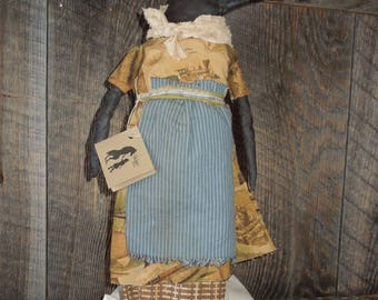 Raven Crow Primitive Soft Sculpture Doll Railroad RR print with or without doll stand