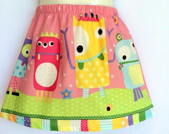 Girls Pink Monster Skirt - sizes 1 to 5 avail - cute, quirky, rainbow