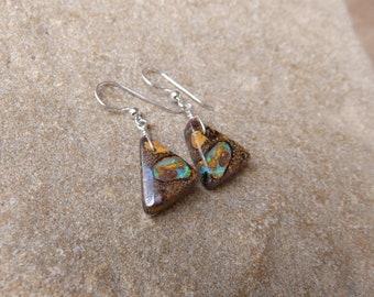 Unique Boulder Opal earrings, precious earthy jewelry, handmade in Australia by NaturesArtMelbourne, gem stone jewellery triangle