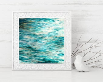 Digital Print - Ocean Abstract Painting - Instant Digital Download - Beach Home Decor - Abstract Seascape - Abstract Printable - Square Art