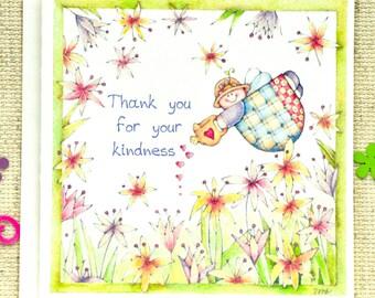 Thank You Card, Cute Thank you Card, Thank You Note card, Angel Thank You card, Floral card, Garden Thank you card, Botanical Thank you card