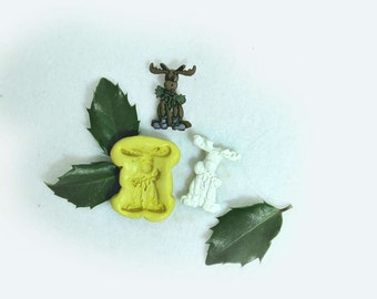 reindeer mold,moose silicone mold, Christmas molds, Silicone mold,push mold, food supplies mold, clay supplies molds, # 25 s