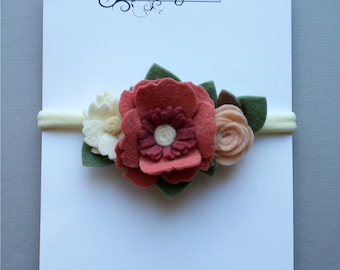 Headband - baby and child - vintage floral wool felt