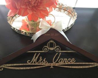 Disney Wedding  Hanger, Cinderella Bride Hanger, Disney Wedding, Wedding Hanger, Personalized Bridal Hanger, Cinderella carriage hanger